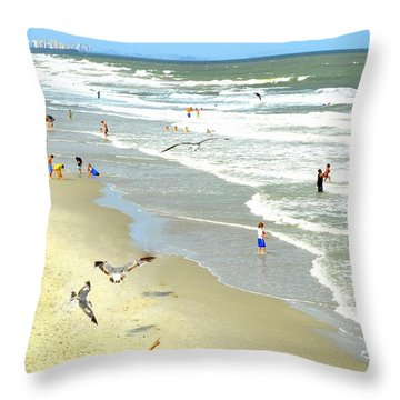 But Daddy Why Cant I Feed The Birds Throw Pillow by Kathy Barney