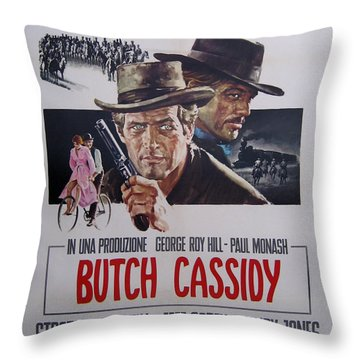 Butch Cassidy And The Sundance Kid Throw Pillow by Georgia Fowler