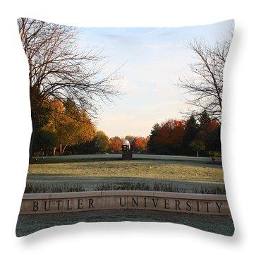 Butler University Mall Throw Pillow by Dan McCafferty