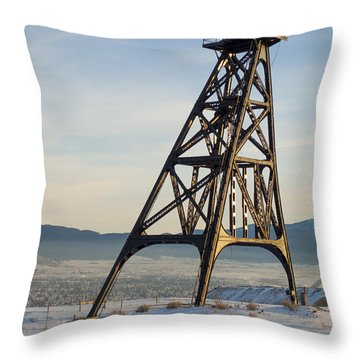 Throw Pillow featuring the photograph Butte Headframe by Fran Riley