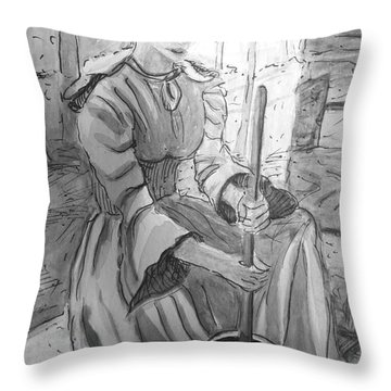 Butter Churner In Black And White Throw Pillow by Gretchen Allen
