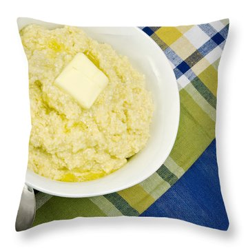 Cheese Grits With A Pat Of Butter Throw Pillow by Vizual Studio