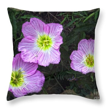 Buttercup Wildflowers - Pink Evening Primrose Throw Pillow