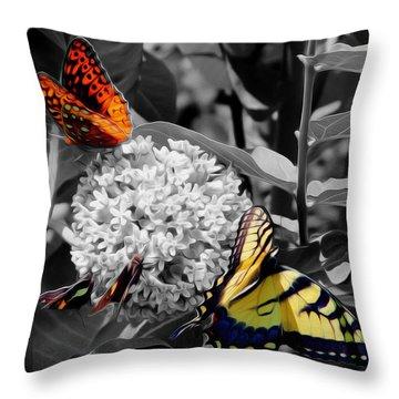 Throw Pillow featuring the digital art Butterflies At Rest by Kelvin Booker