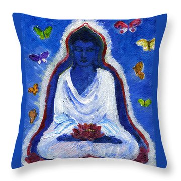 Butterflies Dream Of Buddha Throw Pillow