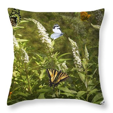 Butterflies In Golden Garden Throw Pillow by Belinda Greb