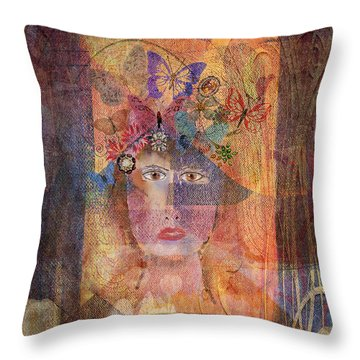 Butterflies In Her Hair Throw Pillow by Arline Wagner