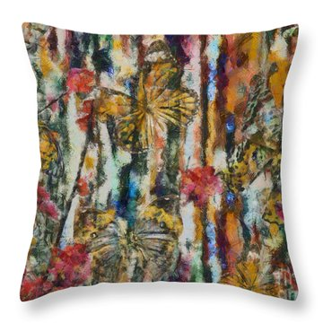 Throw Pillow featuring the digital art Butterflies In Plum Blossoms And Texture by Nola Lee Kelsey
