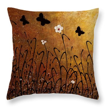 Butterflies Landscape Throw Pillow by Carmen Guedez
