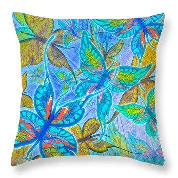 Throw Pillow featuring the mixed media Butterflies On Blue by Teresa Ascone