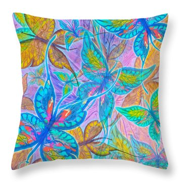 Throw Pillow featuring the mixed media Butterflies On Lilac by Teresa Ascone