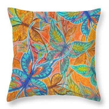 Throw Pillow featuring the painting Butterflies On Tangerine by Teresa Ascone