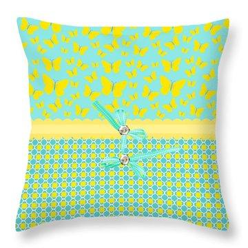 Butterflies Sun Throw Pillow by Debra  Miller