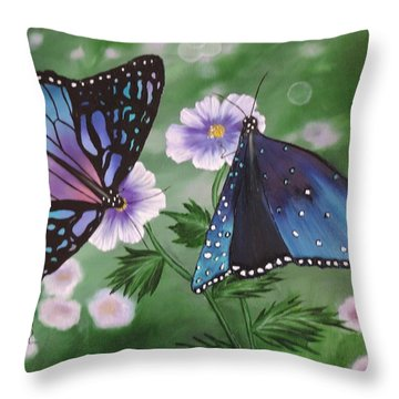 Throw Pillow featuring the painting Butterfly #2 by Dianna Lewis