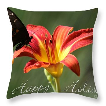 Butterfly And Lily Holiday Card Throw Pillow