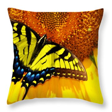 Butterfly And The Sunflower Throw Pillow