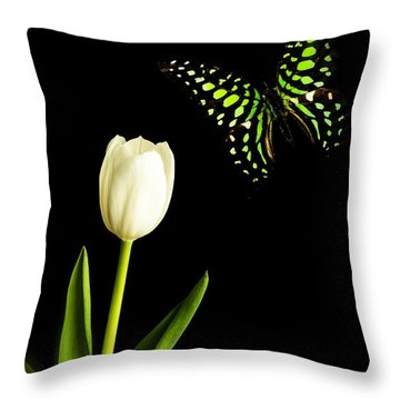 Butterfly And Tulip Throw Pillow by Edward Fielding