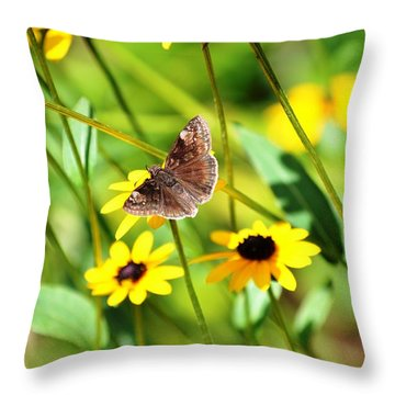 Butterfly And Yellow Flowers Throw Pillow by Carlee Ojeda