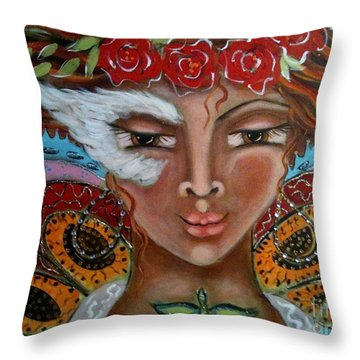 Butterfly Angel Throw Pillow by Maya Telford