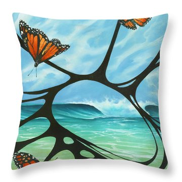 Butterfly Beach Throw Pillow