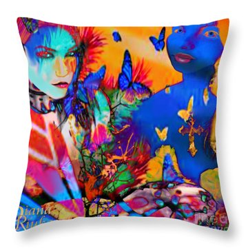 Throw Pillow featuring the digital art Butterfly Beauties by Diana Riukas