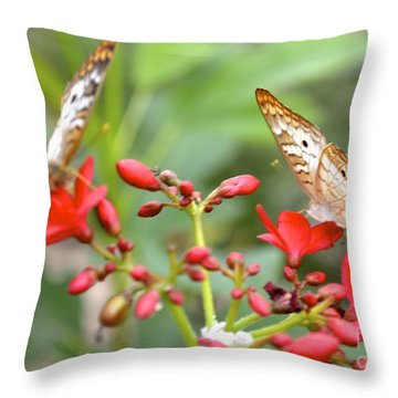 Butterfly Besties Throw Pillow by Carla Carson