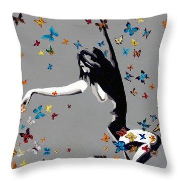 Butterfly Dance Throw Pillow by Denise Deiloh