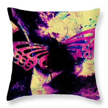 Throw Pillow featuring the photograph Butterfly Disintegration  by Jessica Shelton