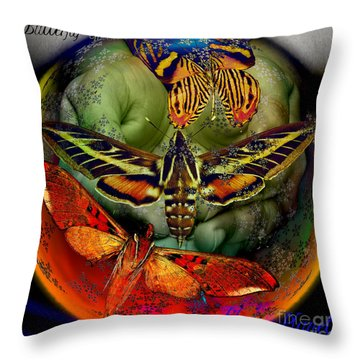 Butterfly Effect Blue Planet Throw Pillow by Joseph Mosley