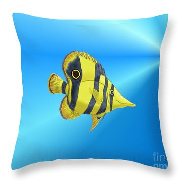 Throw Pillow featuring the digital art Butterfly Fish by Chris Thomas