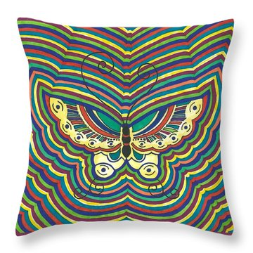 Throw Pillow featuring the painting Butterfly Flutter by Susie Weber