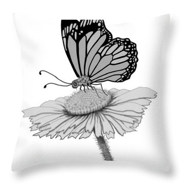 Throw Pillow featuring the digital art Butterfly Friends by Carol Jacobs