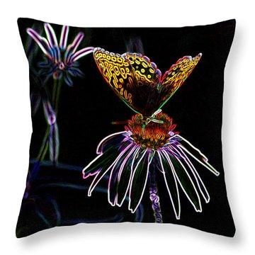 Throw Pillow featuring the digital art Butterfly Garden 03 - Great Spangled Fritillary by E B Schmidt
