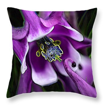Butterfly Garden 04 - Columbine Throw Pillow by E B Schmidt