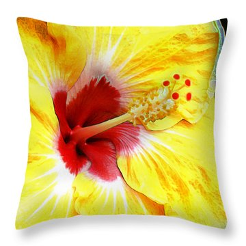Butterfly Garden 07 - Hibiscus Throw Pillow by E B Schmidt