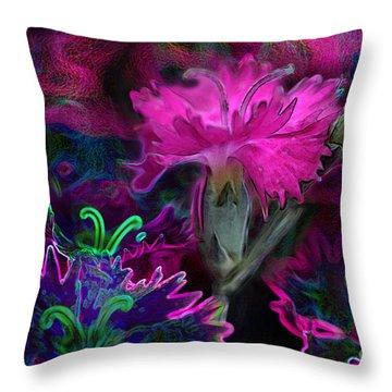 Throw Pillow featuring the digital art Butterfly Garden 08 - Carnations by E B Schmidt