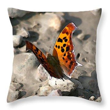 Throw Pillow featuring the digital art Butterfly Garden 09 - Eastern Comma by E B Schmidt