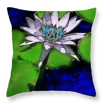 Throw Pillow featuring the digital art Butterfly Garden 10 - Water Lily by E B Schmidt