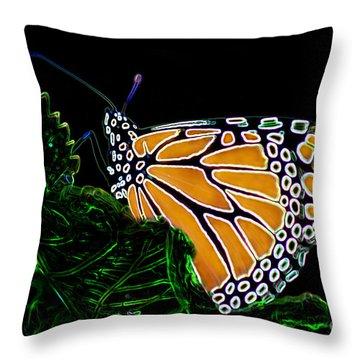 Throw Pillow featuring the digital art Butterfly Garden 12 - Monarch by E B Schmidt
