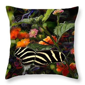 Throw Pillow featuring the digital art Butterfly Garden 14 - Zebra Heliconian by E B Schmidt