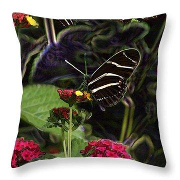 Throw Pillow featuring the digital art Butterfly Garden 19 - Zebra Heliconian by E B Schmidt
