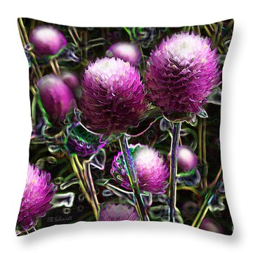 Throw Pillow featuring the digital art Butterfly Garden 20 - Globe Amaranth by E B Schmidt