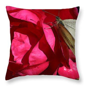 Throw Pillow featuring the digital art Butterfly Garden 21 - Cabbage White by E B Schmidt