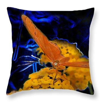 Throw Pillow featuring the digital art Butterfly Garden 22 - Julia Heliconian by E B Schmidt
