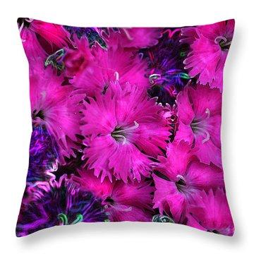 Throw Pillow featuring the digital art Butterfly Garden 23 - Carnations by E B Schmidt