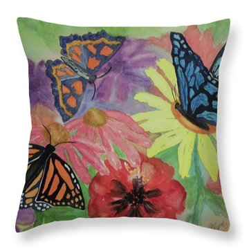 Throw Pillow featuring the painting Butterfly Garden by Ellen Levinson