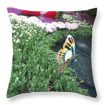 Throw Pillow featuring the photograph Butterfly Garden Ladybug Flowers Green Theme by Navin Joshi