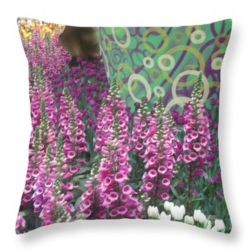 Throw Pillow featuring the photograph Butterfly Garden Purple White Flowers Painted Wall by Navin Joshi