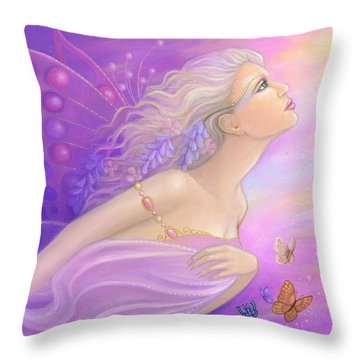 Butterfly Girl Throw Pillow by B K Lusk