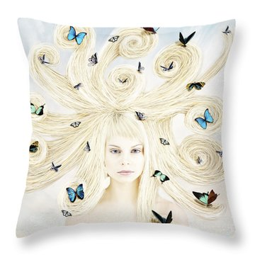 Butterfly Girl Throw Pillow by Linda Lees